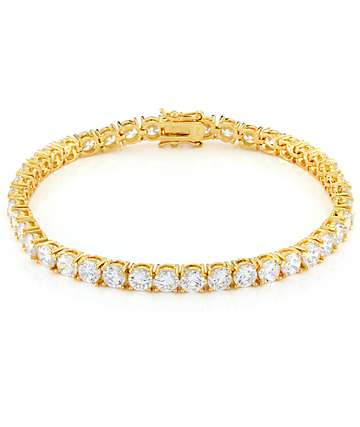 King Ice 5mm 14K Gold Single Row Tennis Bracelet