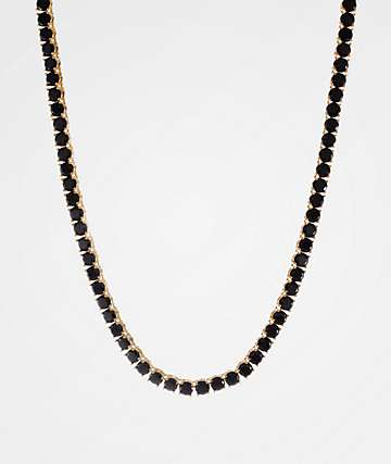 King Ice 5mm Single Row CZ Black & Gold Tennis Chain Necklace