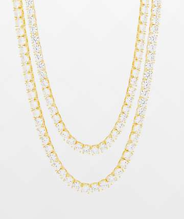 King Ice 5mm Tennis Gold 2 Pack Choker Necklace