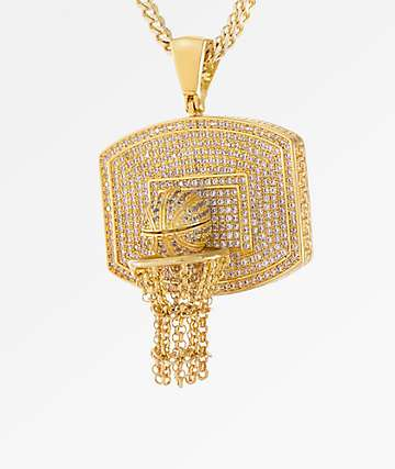 King Ice Basketball 14K Gold Necklace