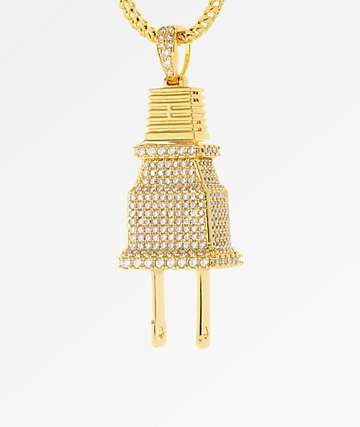 King Ice CZ Large Plug Gold Necklace
