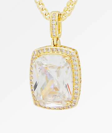 King Ice Crown Julz Clear & Gold Necklace