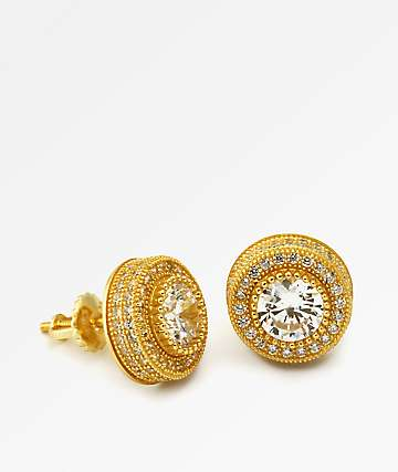 King Ice Gold Button Earrings