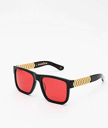King Ice Gold Link Glossy Black & Red Polarized Sunglasses