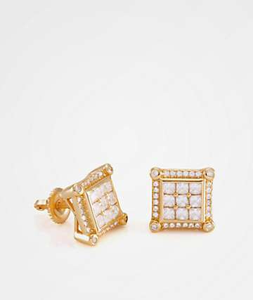 King Ice Gold Prong Earrings