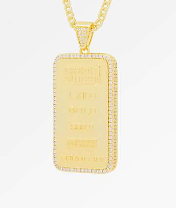 King Ice Kilo Bar 14K Gold Necklace