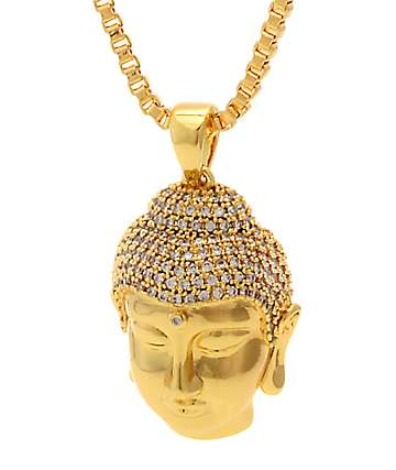 King Ice Mini Buddha Head Gold Necklace