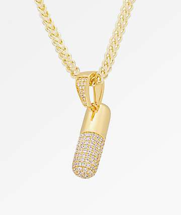 King Ice Pill 14K Gold Necklace