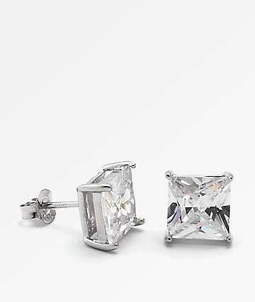 King Ice Princess Cut Silver Earrings