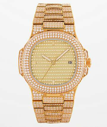 King Ice Quad 14k Gold Watch