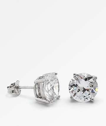 King Ice Round Cut Silver Earrings