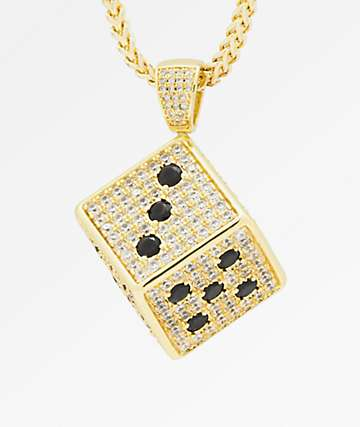 King Ice The Dice Gold Necklace