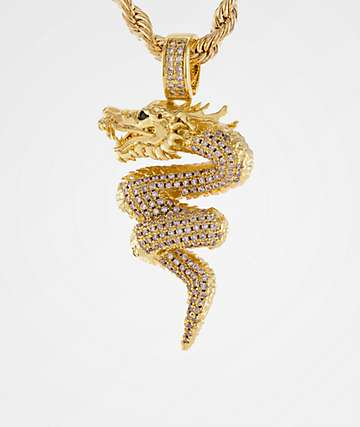 King Ice The Dragon Gold Necklace