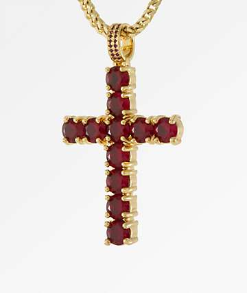 King Ice The Kingsman Ruby Cross Necklace