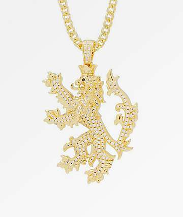 King Ice The Knight Lion Gold Necklace