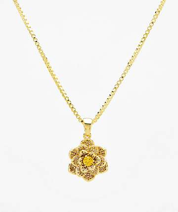 King Ice The Lotus Flower Gold Necklace