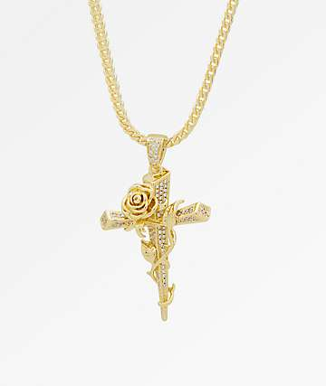 King Ice Thorned Cross Gold Necklace