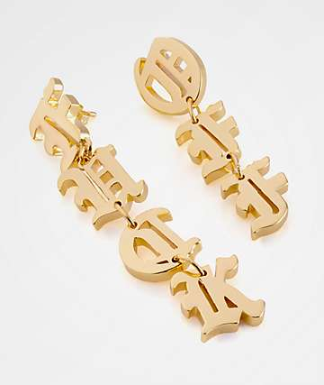 King Ice Women's Fuck Off Gold Earrings