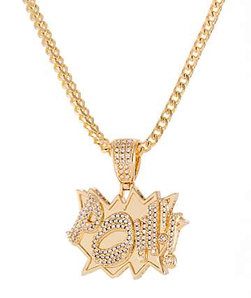 King Ice X Batman Pow Gold Necklace