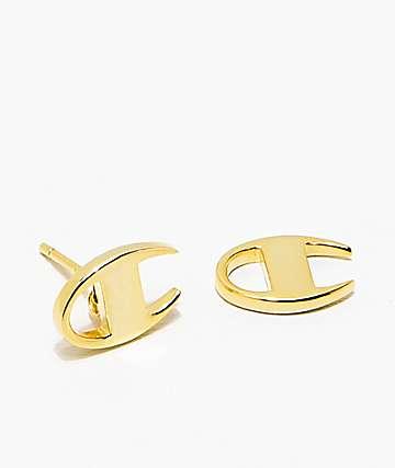 King Ice x Champion Gold Stud Earrings
