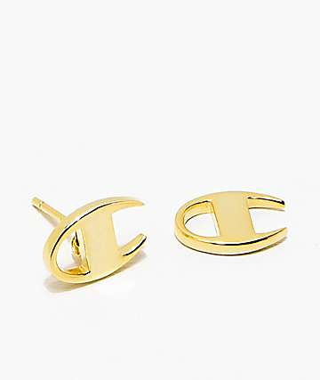 King Ice x Champion Gold Stud Earrings