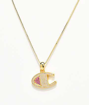 King Ice x Champion Heritage collar con colgante de oro para mujeres