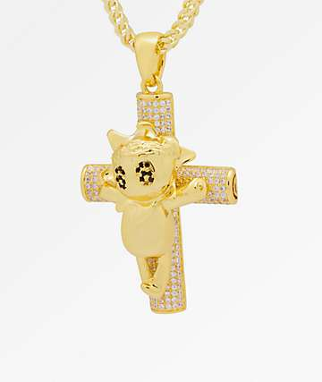 King Ice x Chief Keef The Glo Life Cross Gold Necklace Chain