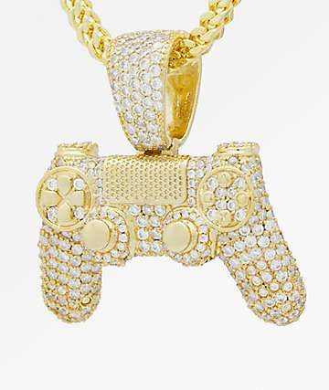 King Ice x PlayStation Iced Out Classic PlayStation Controller Gold Chain Necklace