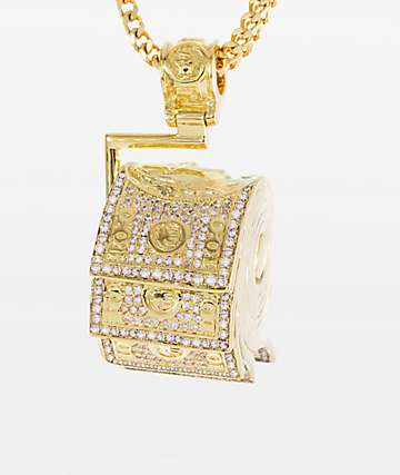 King Ice x Snoop Dogg Money Roll Pendant Gold Necklace