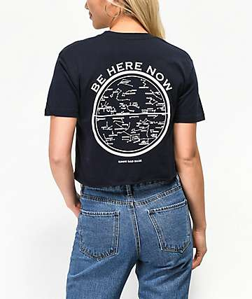 Know Bad Daze Be Here Now camiseta corta azul marino
