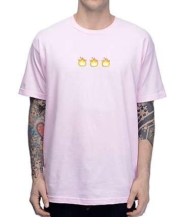 Know Bad Daze Fire camiseta en rosa clara