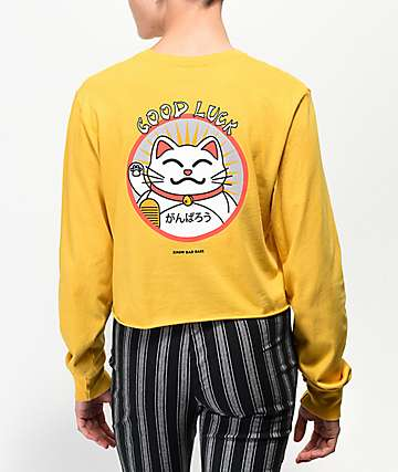 Know Bad Daze Good Luck Gold Crop Long Sleeve T-Shirt