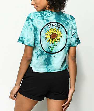 Know Bad Daze In Bloom Blue Tie Dye Crop T-Shirt