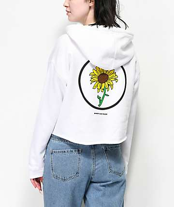 Know Bad Daze In Bloom White Crop Hoodie