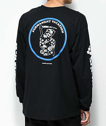 Know Bad Daze Permanent Vacation Black Long Sleeve T-Shirt
