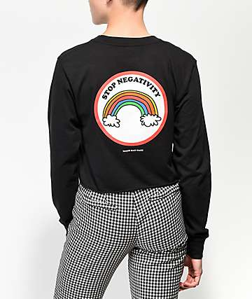 Know Bad Daze Stop Negativity Black Crop Long Sleeve T-Shirt