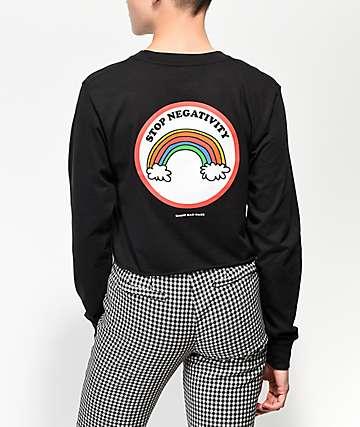 Know Bad Daze Stop Negativity Black Crop Long Sleeve T-Shirt