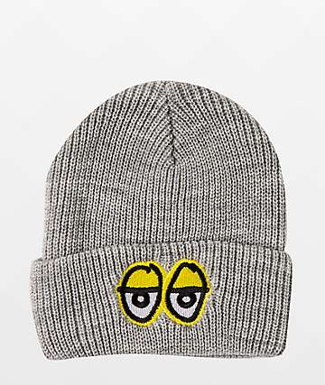 Krooked Eyes Emblem Grey Beanie