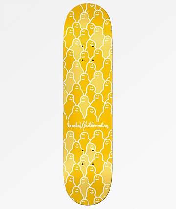 """Krooked Krouded 8.25"""" Yellow Skateboard Deck"""