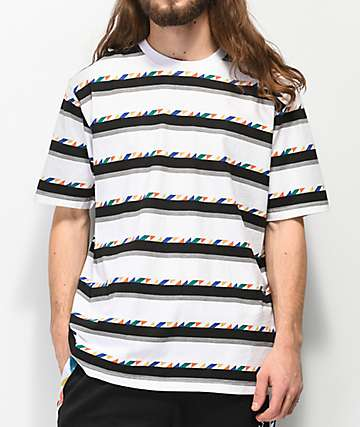 LRG Andrade White, Black & Grey Striped T-Shirt
