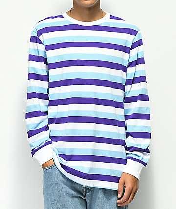 LRG Buzz camiseta de manga larga azul y morada de rayas