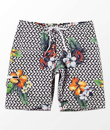 LRG Descendent Black, White & Floral Board Shorts