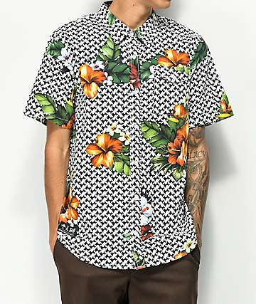 LRG Descendent Black & White Short Sleeve Button Up Shirt