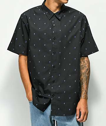 LRG Honor Kanji Black Short Sleeve Button Up Shirt