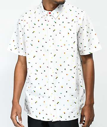 LRG Infinite Blox White Short Sleeve Button Up Shirt