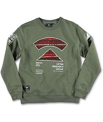 LRG Kulture Top Canvas & Fleece Olive Boys Sweatshirt