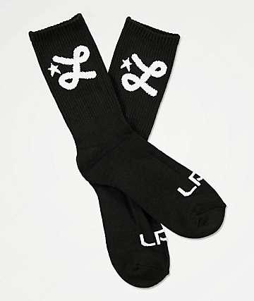 LRG L Script Black Crew Socks
