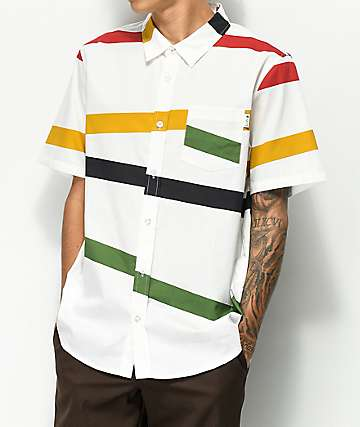 LRG Montego Multicolored Striped Short Sleeve Button Up Shirt