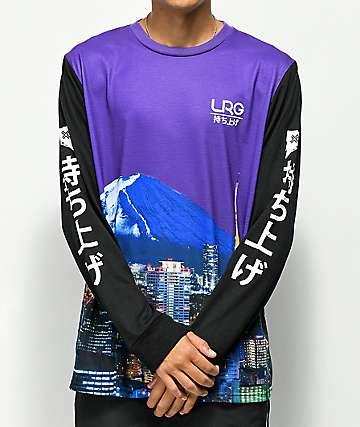 LRG Mt. Fuji camiseta de manga larga morada y negra