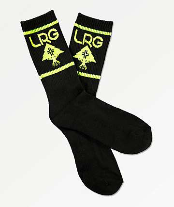 LRG Neon Green & Black Crew Socks